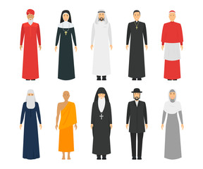 Cartoon Characters Religion People Different Types Set. Vector