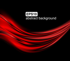 Abstract red wave background. Vector illustration.