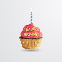 Cupcake. Sweet birthday cake with candle lit. Happy birthday