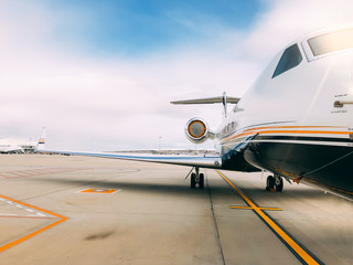 Private luxury jet at the airport terminal