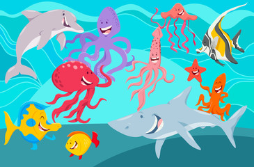 sea life animals cartoon characters group