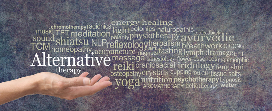 Alternative Therapy Word Cloud - female hand held palm up the words ALTERNATIVE THERAPY in white above surrounded by a relevant word cloud on a rustic dard stone background