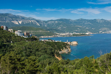 Panoramic view of the Budva Riviera from the observation deck of the fortress of the Old Town. Budva. Montenegro.