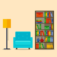 Bookcase and Armchair, Interior Vector illustration for web site, print, poster, infographic.