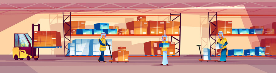 Warehouse and Arab workers vector illustration of logistics storehouse with goods on shelf. Men in Saudi Arabian thobe robe loading box parcels in forklift loader or pallet truck on cartoon background