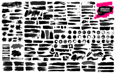 Big Set of black paint, ink brush strokes, brushes, lines, grungy. Dirty artistic design elements, boxes, frames. Freehand drawing. Vector illustration. Isolated on white background