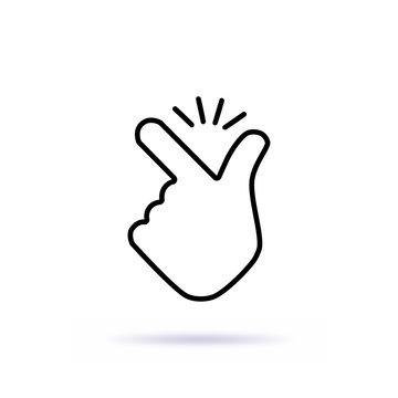 Thin line snap finger like easy logo