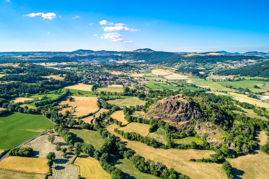 Landscape of the Massif Central, a highland region in France