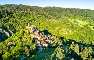 View of Chalencon village with its castle. France