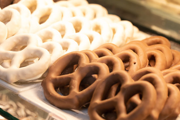 Chocolate covered pretzels on a tray
