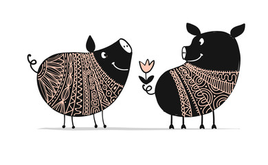 Cute couple of pigs, symbol of 2019 for your design