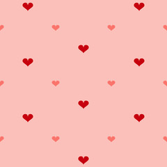 Nahtloses Muster mit Herzen in rottönen. Vektordatei eps 10