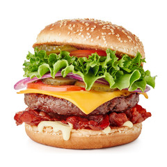 big fresh burger with cheese and bacon isolated on white background
