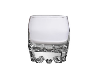 empty glass glass with a beautiful bottom isolated on a white background