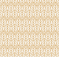 Geometric trendy golden leaves vector seamless pattern. Abstract symmetry vector texture. Leaf background.