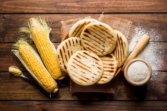 One of the dishes of the traditional Latin American cuisine, arepas of pre-cooked corn