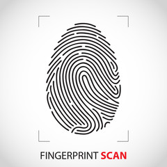 Fingerprint On Computer Technology Background. Vector illustration isolated on white backgrouns