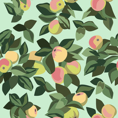 Apple and leaf seamless pattern