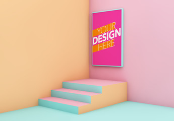 Colorful Corner Poster Mockup