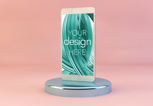 Smartphone on Pedestal with Pink Background