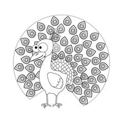 Colorless funny cartoon peacock.