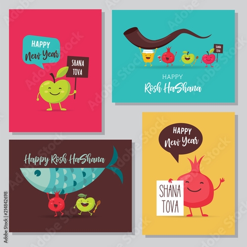 Greeting Cards With Funny Cartoon Characters For Rosh Hashanah