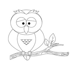 Colorless funny cartoon owl.