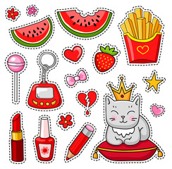 Vector patch badges. Set of cute hand-drawn colorful stickers and pins in cartoon style.