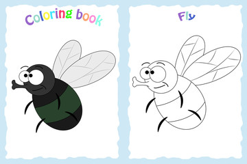 Coloring book page for preschool children with colorful fly