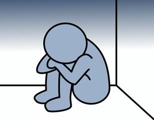 ストレスを抱える人(色、隅、背景ブルー)