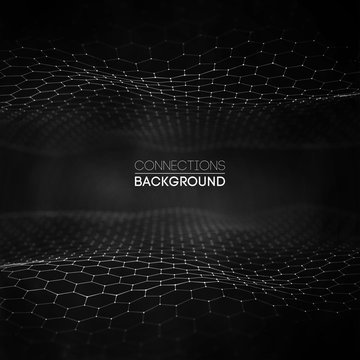 Network connection concept black background vector illustration. Futuristic hexagon perspective wide angle lanscape. Futuristic honeycomb concept. 3d landscape. Big data digital background.
