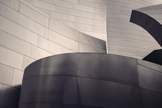 Architectural abstract of a metal clad building in Los Angeles, California