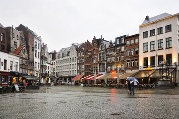 A square in Antwerp on rainy day, Belgium, Europe