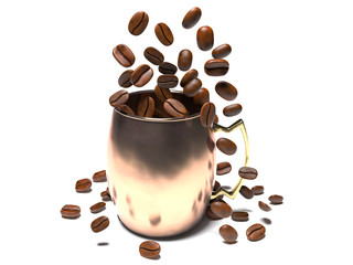 The coffee beans fall into a mug