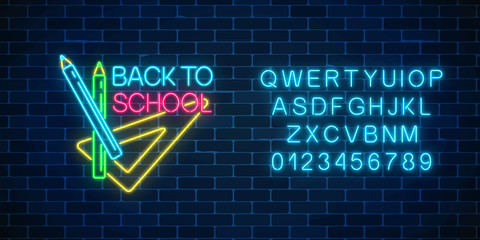Design of leaflet, flyer with pencils and ruler. Neon banner with back to school greeting text with alphabet.