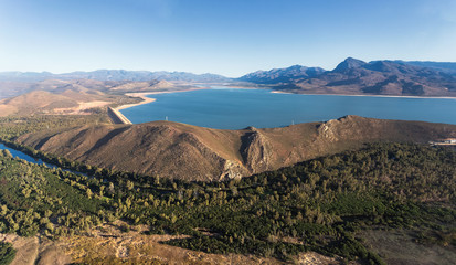 Aerial photo over the Brandvlei dam outside Worcester in the western cape of south africa