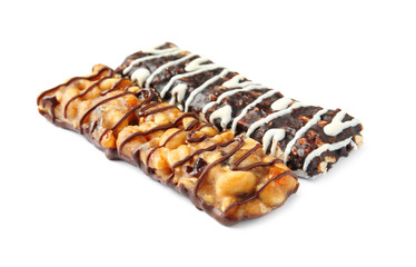 Different grain cereal bars on white background. Healthy snack