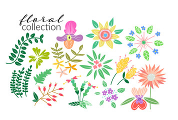 Set of floral elements. Spring elements. Floral doodles wreath. collection of hand drawn sweet floral element.