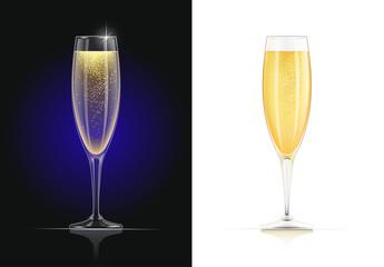 Champagne glass. Wines glassware in dark and white background.
