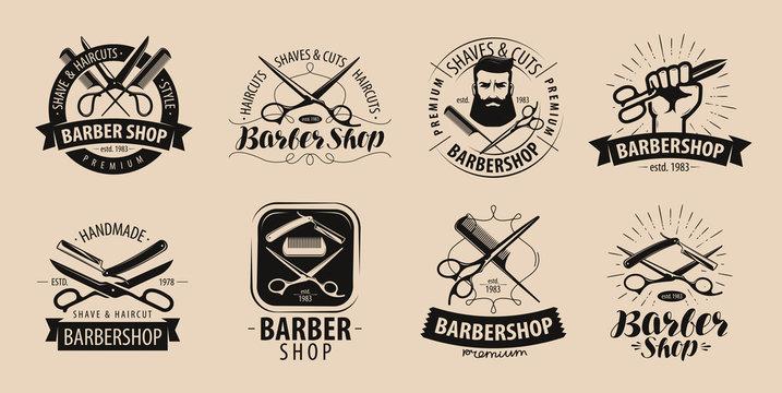 Barbershop, hairdressing salon logo or label. Vector illustration