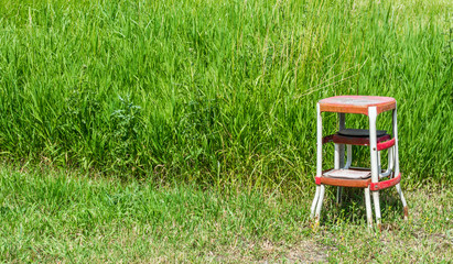 solitary rusted red metal step stool abandoned in a field of lush green wild grasses with copy space