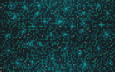 Abstract binary code background. Digital data concept. Bright streaming digits with lights on dark backdrop. Futuristic technology wallpaper. Vector illustration