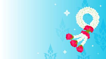 Wall Mural - Thai Mother's day background vector illustration. Thai jasmine flower garland on blue background.