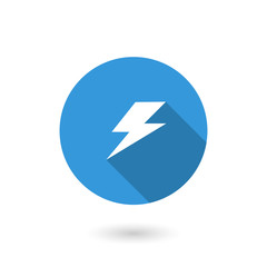 Lightning icon. Flat icon with long shadow