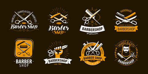 Barbershop, set of labels or emblems. Vector