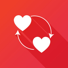 Sharing love icon. Flat design style with long shadow