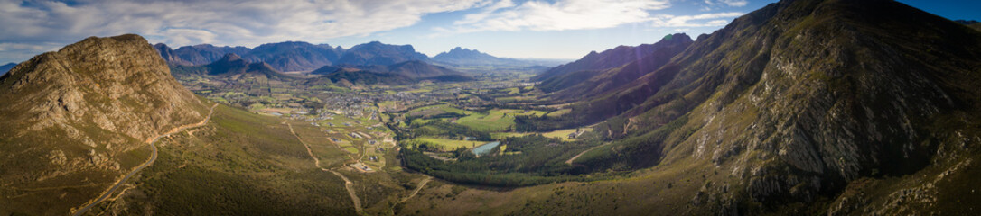 Aerial view over the Franschhoek pass and the Franschhoek valley in the Western Cape of South Africa
