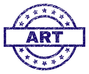 ART seal print with distress texture. Designed with rectangle, circles and stars. Blue vector rubber print of ART label with corroded texture.