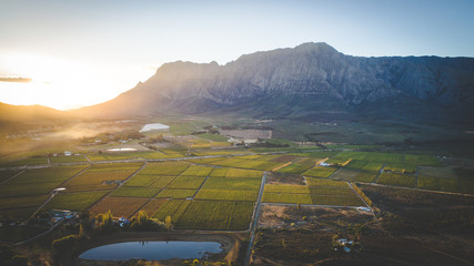Aerial view over the Brandwaght valley outside Worcester in the western cape of south africa