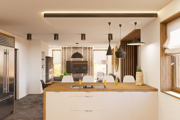 3d render modern living room and kitchen interior design with fireplace.